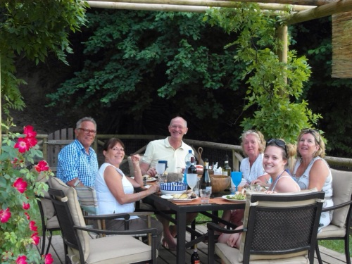 Paul, Cherry, Jim, Audrey,  Romy & Karen having a BBQ up at Cherry & Ethan's