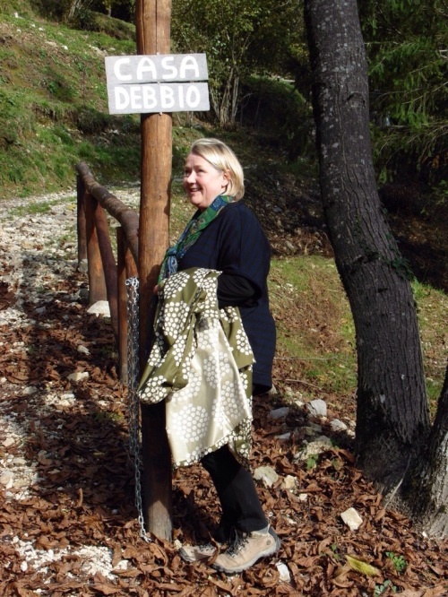 Debra at the entrance to their house up at Vergemoli