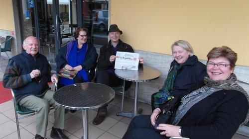 Jim, Carla, Agostino, Debra and myself at morning coffee